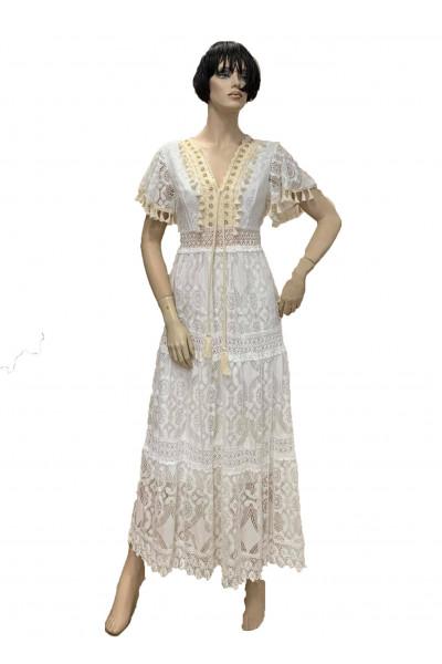 DAMIANO MILANO Λευκό Φόρεμα Δαντέλα F9727