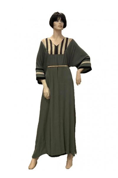SIDERATI Γυναικείο Φόρεμα Χακί Καφτανί F7966