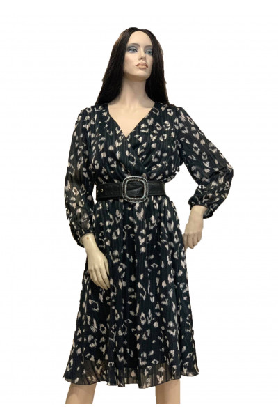 FIBES Μαύρο Λεοπάρ Φόρεμα F3973