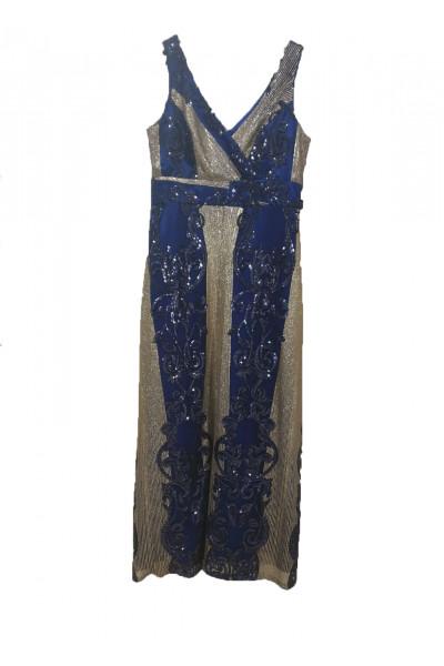 Effect Γυναικείο φόρεμα μπλε δαντέλα με χρυσό  F9855