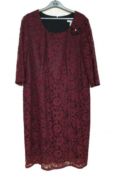 VETO Γυναικείο Φόρεμα 3/4 μανίκι μπορντό F3677M