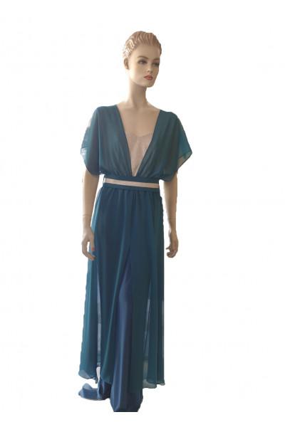 SIDERATI Γυναικεία ολόσωμη φόρμα πετρολ χρυσο F7998P
