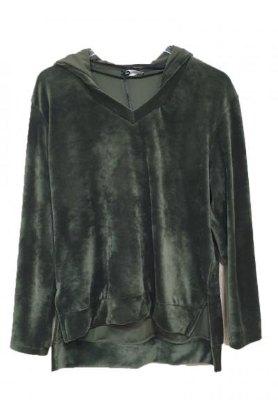 MS Γυναικείο βελούδινο πράσινο φούτερ σετ φόρμα B2132