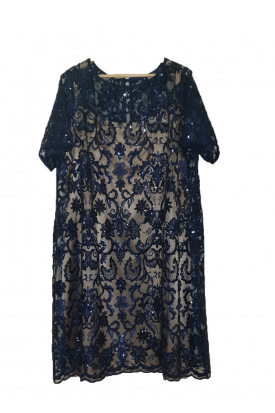 SIDERATI Γυναικείο μπλε μπλούζα δαντέλα σετ  F8037
