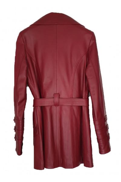 MOMOI Γυναικείο Δερμάτινο μακρύ σκούρο κόκκινο L3975