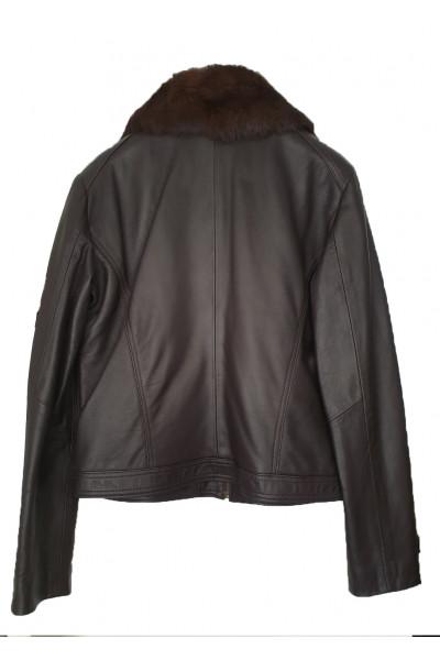 REIS Γυναικείο Δερμάτινο μαύρο με γούνα L4280